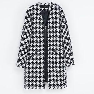 Zara Houndstooth Boucle Coat